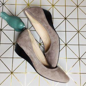Shoes - Cole Haan Grand.OS Grey Suede Sadie Wedge Pump